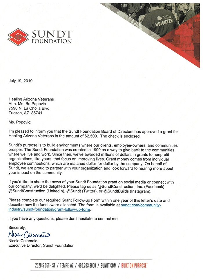 letter of donation from Sundt